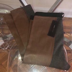 BCBG Gray Spandex/Faux Brown Leather Pants